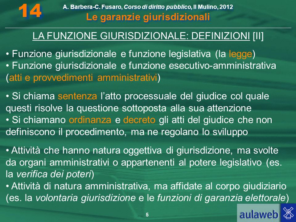LA FUNZIONE GIURISDIZIONALE: DEFINIZIONI [II]
